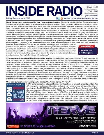 news INSIDE >> Friday, December 3, 2010