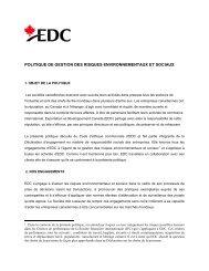Politique de gestion des risques environnementaux et sociaux - EDC