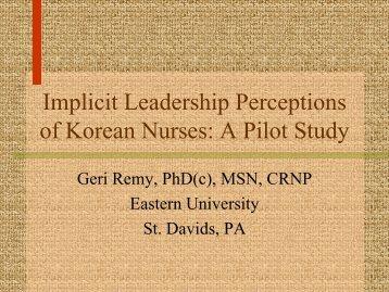 Implicit Leadership Perceptions of Korean Nurses - IUPUI