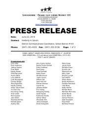 PRESS RELEASE - Lincolnshire-Prairie View School District 103