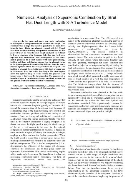Numerical Analysis of Supersonic Combustion by Strut Flat ... - IJET