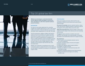 Top 20 global law firm - Williams Lea
