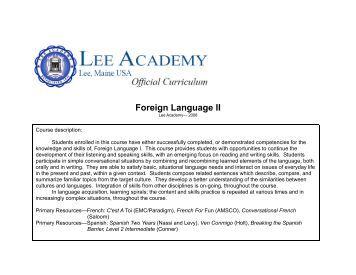 Foreign Language II - Lee Academy