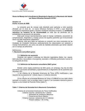 Guías de Manejo de la Insuficiencia Respiratoria ... - Programa VIHDA