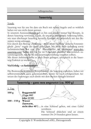 Sauerteig - Wunderkessel-kochbuch.de