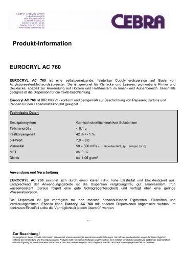 Produkt-Information EUROCRYL AC 760