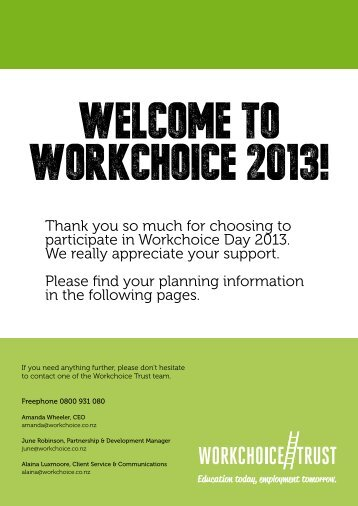 company planning pack 2013 - Workchoice Trust
