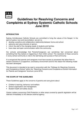 Guidelines for Resolving Concerns and Complaints at Sydney ...