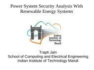Power System Security Analysis With Renewable Energy ... - IIT Mandi