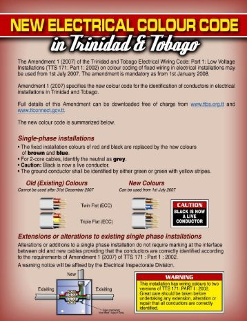 Summary of New Electrical Wiring Colour Code - Trinidad & Tobago