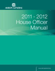 2011 - 2012 House Officer Manual - Akron General Medical Center