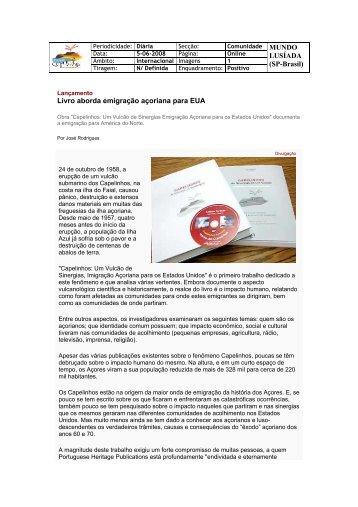 (SP-Brasil) Livro aborda emigração açoriana para EUA - VectWeb SM