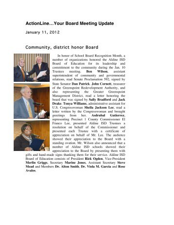 January 11, 2012 - Aldine Independent School District