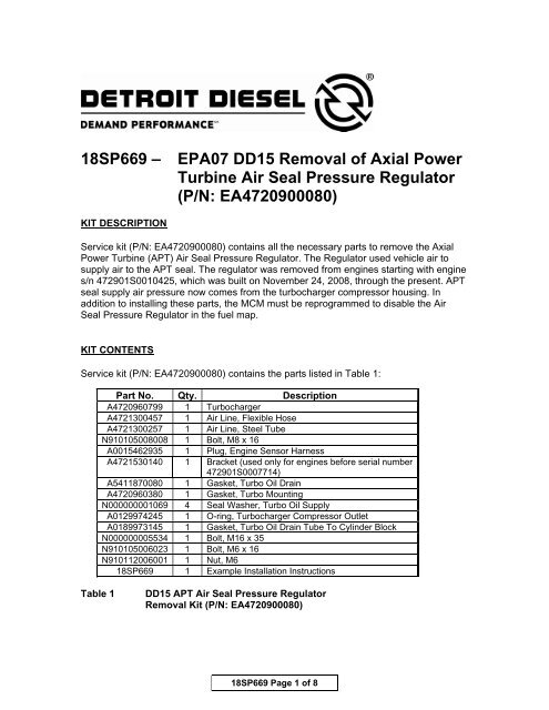 18SP669 – EPA07 DD15 Removal of Axial Power Turbine