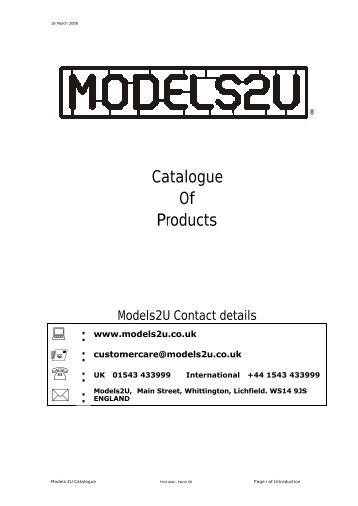 Catalogue Of Products - Models2U