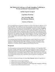 Legislation Workshop - Summary of Outcomes - Bali Process
