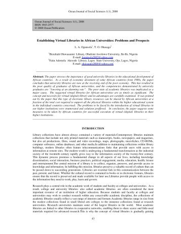 Establishing Virtual Libraries in African Universities: Problems and ...