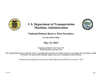 U.S. Department of Transportation Maritime Administration