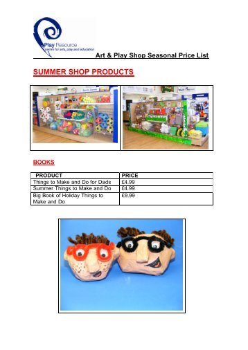 Seasonal Price list - Summer - Play Resource