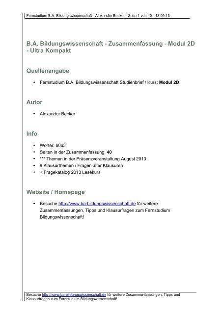 Zusammenfassung Modul 2d Ba Bildungswissenschaftde