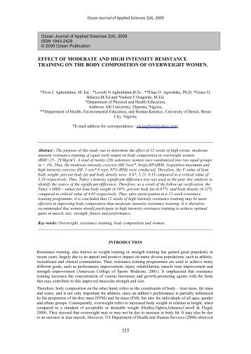 effect of moderate and high intensity resistance training - Ozean ...
