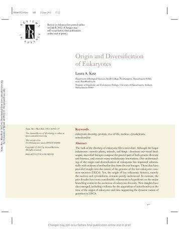 Origin and Diversification of Eukaryotes