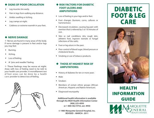 Diabetic Foot Leg Care Pdf Marquette General Regional Medical