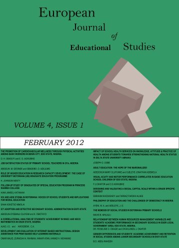 Volume 4 Issue 1 (February 2012) - Ozean Publications