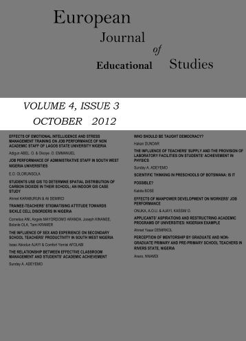 Volume 4 Issue 3 (October 2012) - Ozean Publications