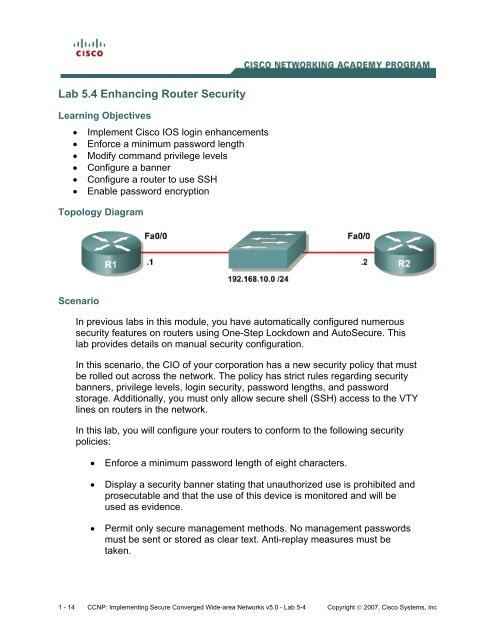 Lab 5 4 Enhancing Router Security