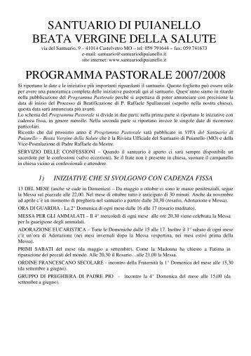 Calendario Pastorale 2007-2008