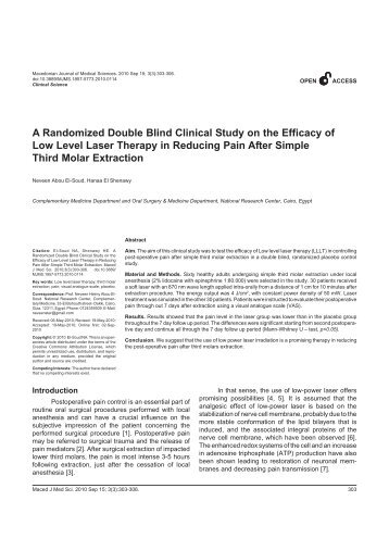 A Randomized Double Blind Clinical Study on the Efficacy of Low ...
