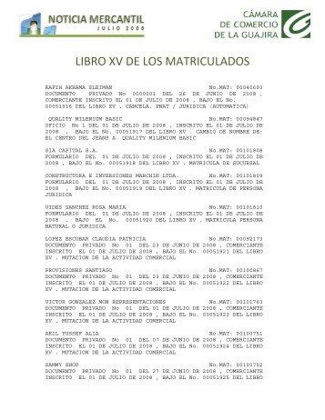 LIBRO XV DE LOS MATRICULADOSx - Cámara de Comercio de La ...
