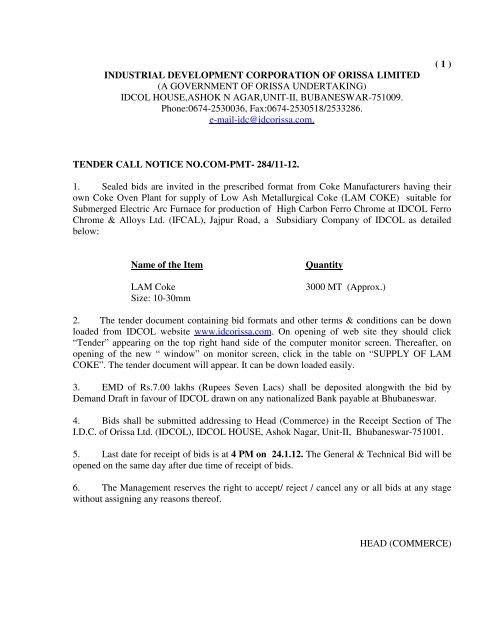 industrial development corporation of orissa limited - Tender