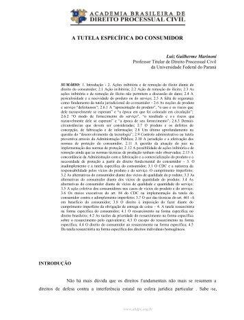 a tutela específica do consumidor - Academia Brasileira de Direito ...