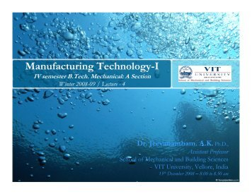Manufacturing Technology-I