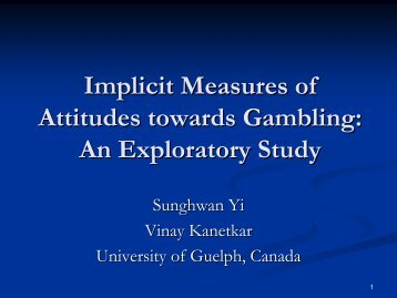 Implicit attitudes toward gambling - European Association for the ...