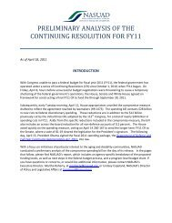 Preliminary analysis of the continuing resolution for fy11