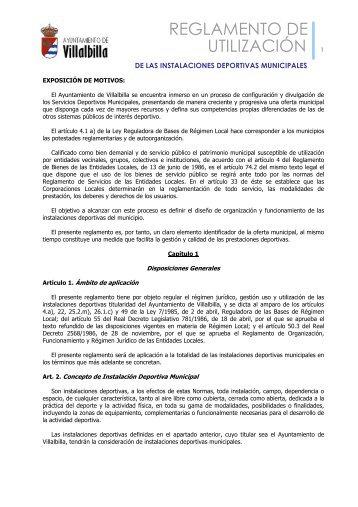reglamento de utilización de las instalaciones deportivas municipales