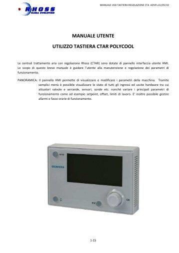 Manuale uso Tastiera CTAR Polycool - uso Utente - Rhoss