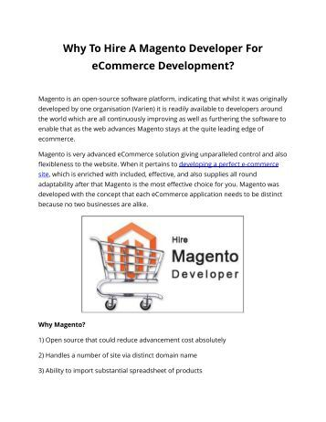 Why To Hire A Magento Developer For eCommerce Development?