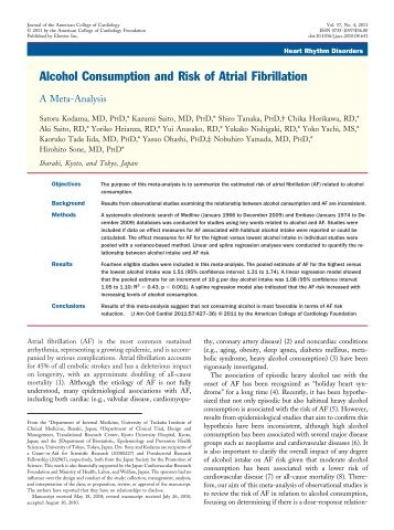 Alcohol Consumption and Risk of Atrial Fibrillation