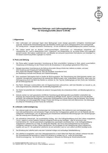 und Lieferbedingungen für Inlandsgeschäfte - CuW Keller GmbH ...
