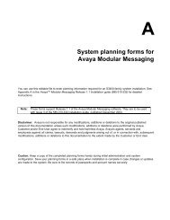 System planning forms for Avaya Modular Messaging - Avaya Support
