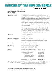 expansion and renovation fact sheet - Museum of the Moving Image