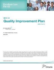 2014 Quality Improvement Plan - St. Joseph's Health Centre Toronto