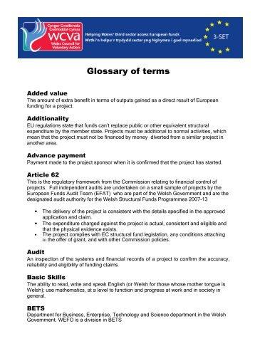 Glossary of terms - WCVA