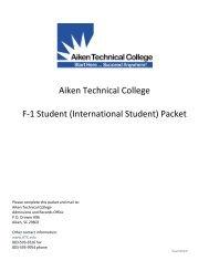 Aiken Technical College F-1 Student (International Student) Packet