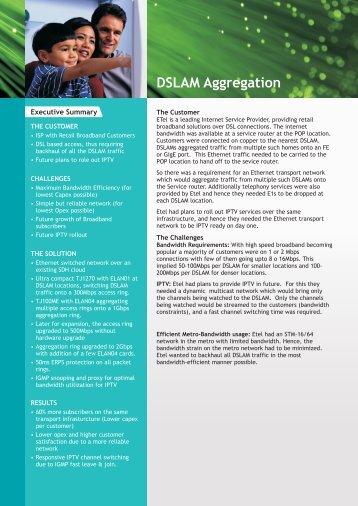 DSLAM Aggregation Case Study - Tejas Networks