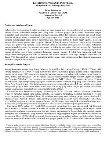 KETAHANAN PANGAN DI INDONESIA - Kadin Indonesia